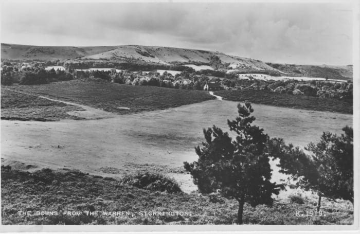 View from large Bronze Age barrow on Sullington Warren across the Green towards the South Downs, circa 1950.
