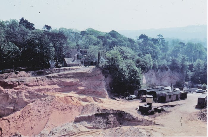 Across Angell's (Angel's) pit to the old school building May 1976